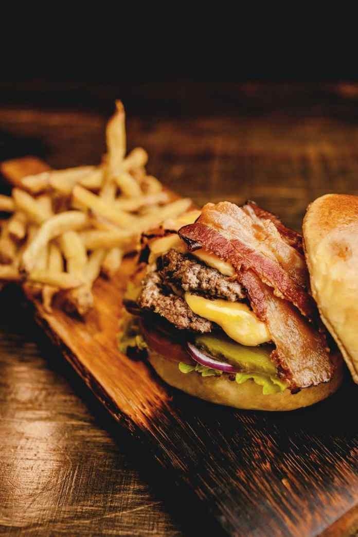Bacon Double Cheddar Cheeseburger with Caramelized Onions