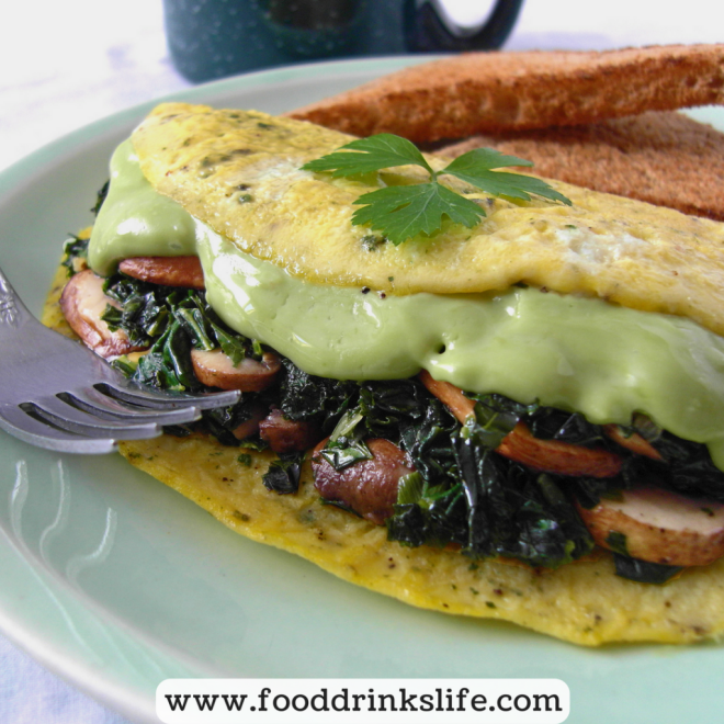 Kale, Spinach and Mushroom Omelette with Avocado Cheese | Food Drinks Life