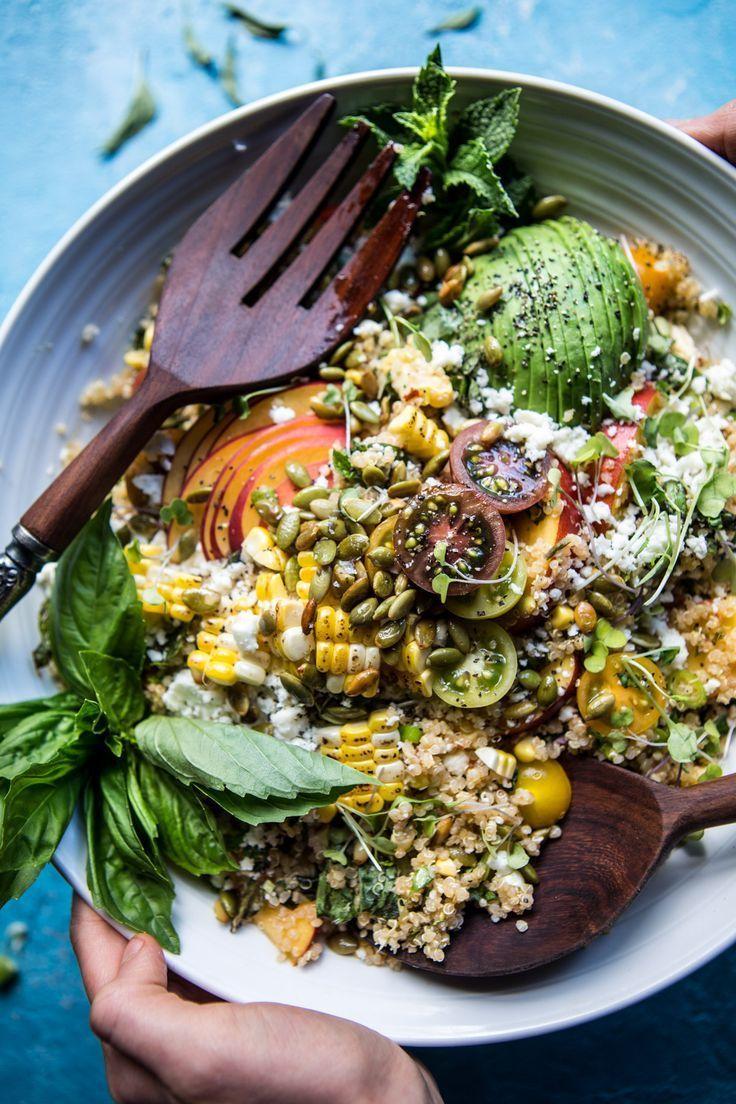 Thai Grilled Corn and Peach Quinoa Salad | halfbakedharvest.com /hbharvest/