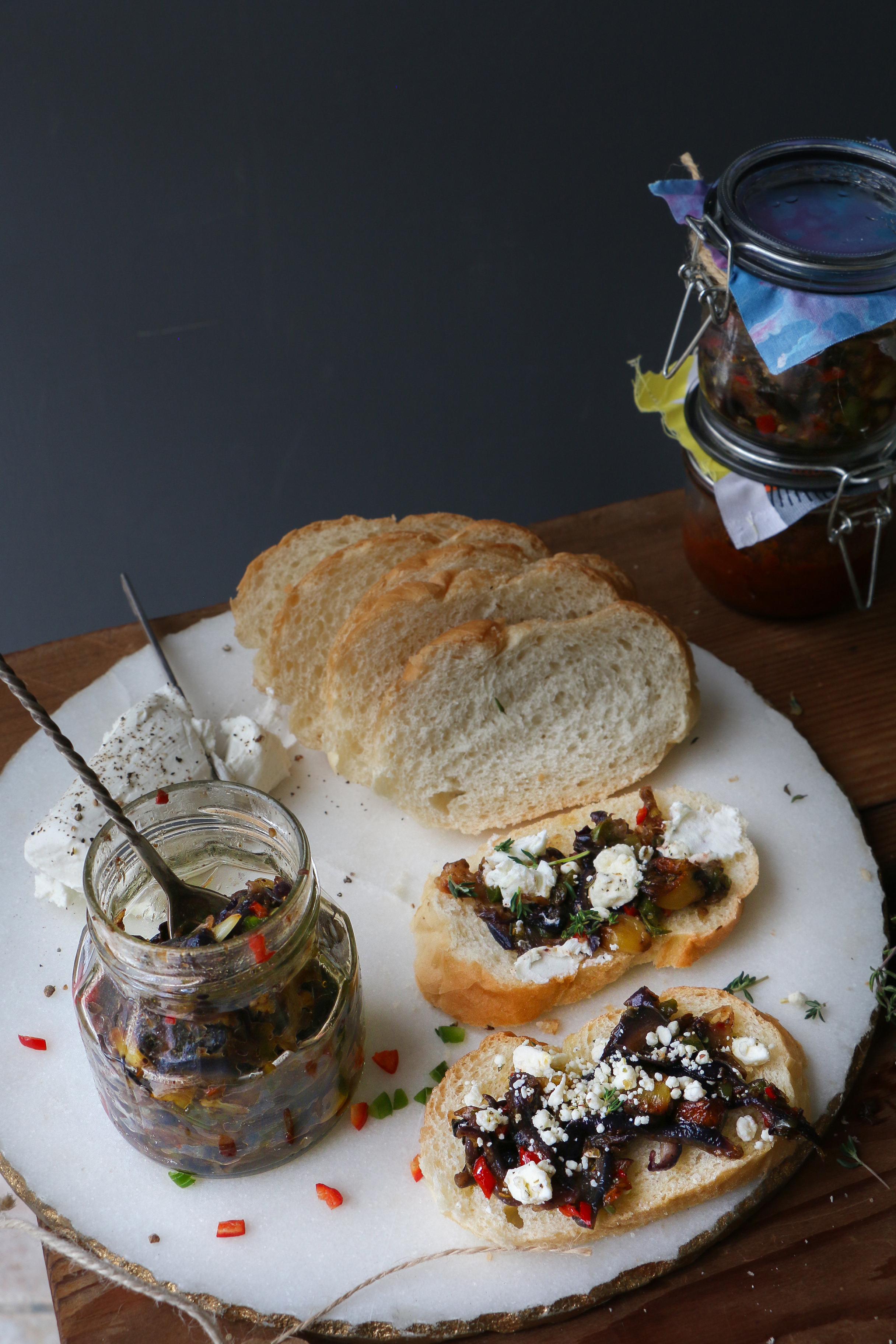 Roasted Garlic and Onion Relish in pickling spices/Bruschetta |foodfashionparty| #garlic
