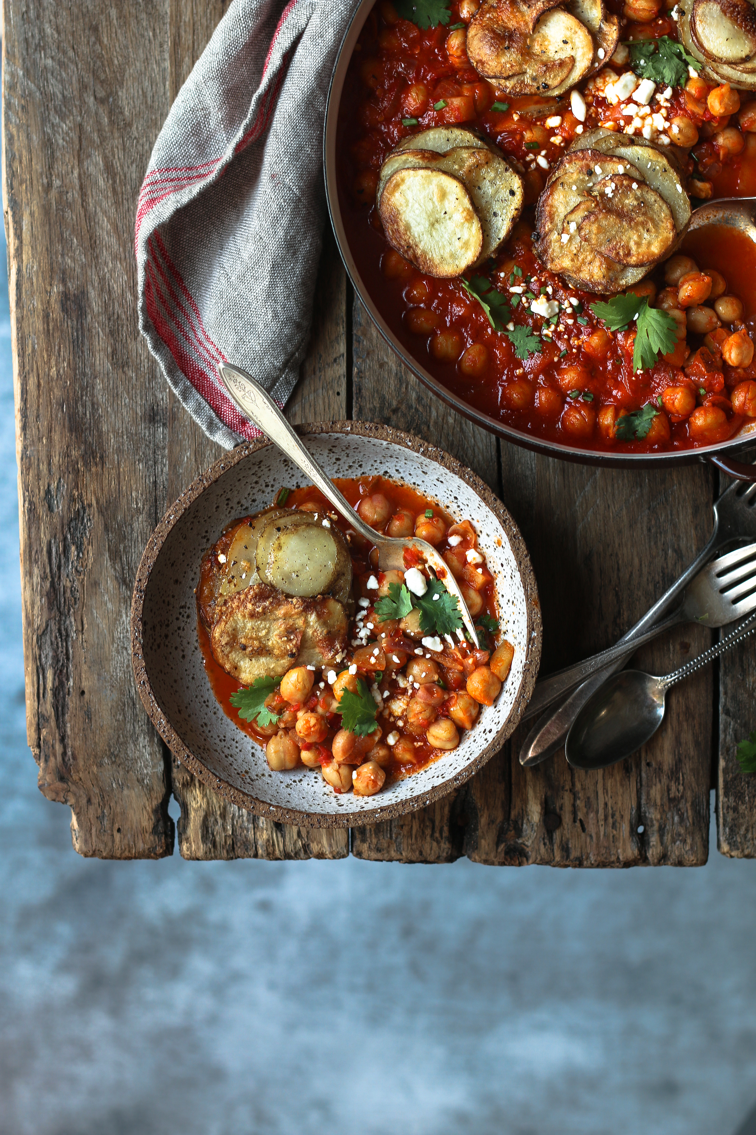 Quick and Easy Harissa Chickpea Stew with Parmesan Potato Peppery Stacks |foodfashionparty| #harissa