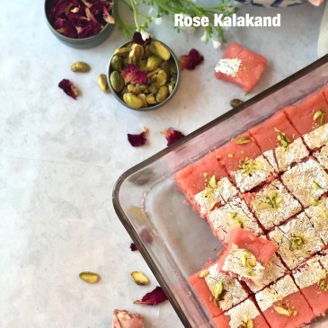 Rose Kalakand in 4 minutes in Microwave
