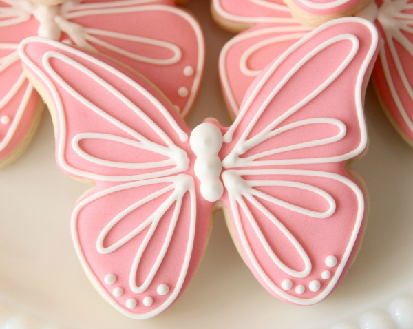 Pink Butterfly Cookies - Creating an Invisible Outline with Royal Icing