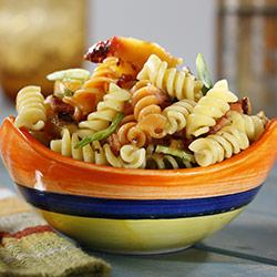 Tri-Color Rotini Pasta Salad with Peaches and Basil