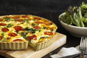 Feta and Spinach Chickpea Crusted Quiche