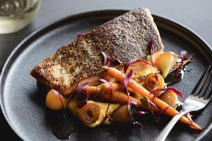 Salmon with Hummus and Charred Onion