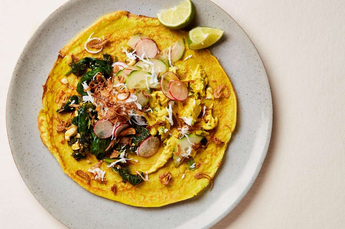 Turmeric pancakes with Coronation Chicken