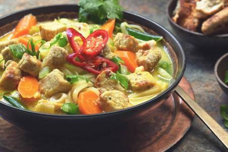 Thai Noodle Soup Recipe with Quorn Vegan Pieces