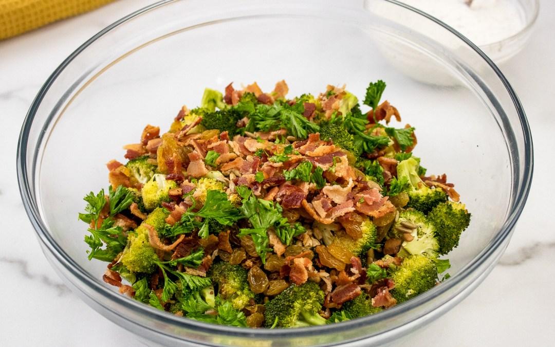 Roasted Broccoli and Raisin Salad with a Yogurt Dressing