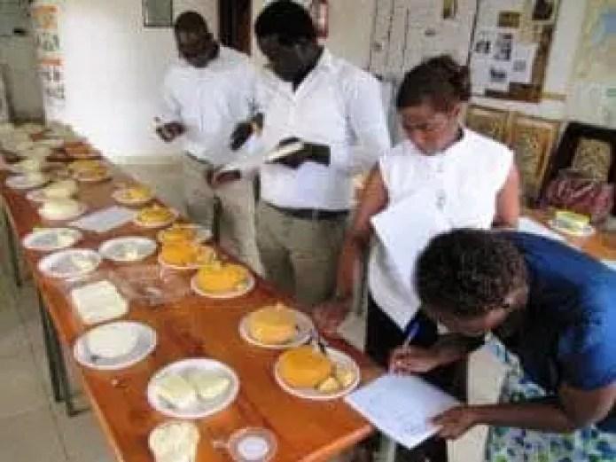 Kobus Mulder teaching cheese making in Rwanda in 2018.