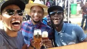 Ivor Swartz and his budidies, John-Ross van Nel and Vusani Jonathan doing what they love most: enjoying the finest craft beers.