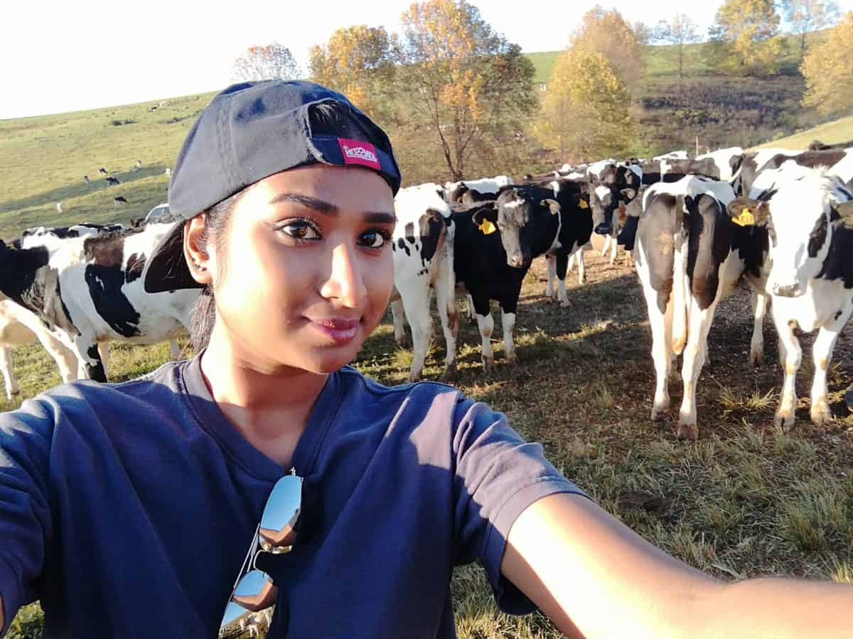 Aspiring dairy farmer Kireshni Naiker is currently finishing her final year Future Farmers internship in Tasmania, an island state off Australia's south coast.