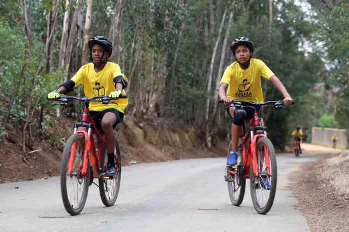 The kids are exposed to an active lifestyle through cycling and fun runs.