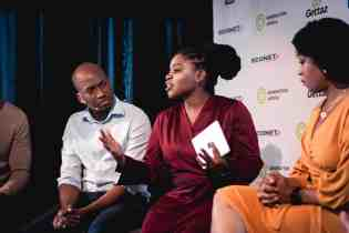 Dalumuzi Mhlanga, Econet's Group Chief of Staff, participating in a panel discussion with Thato Moagi and Ada Osakwe.