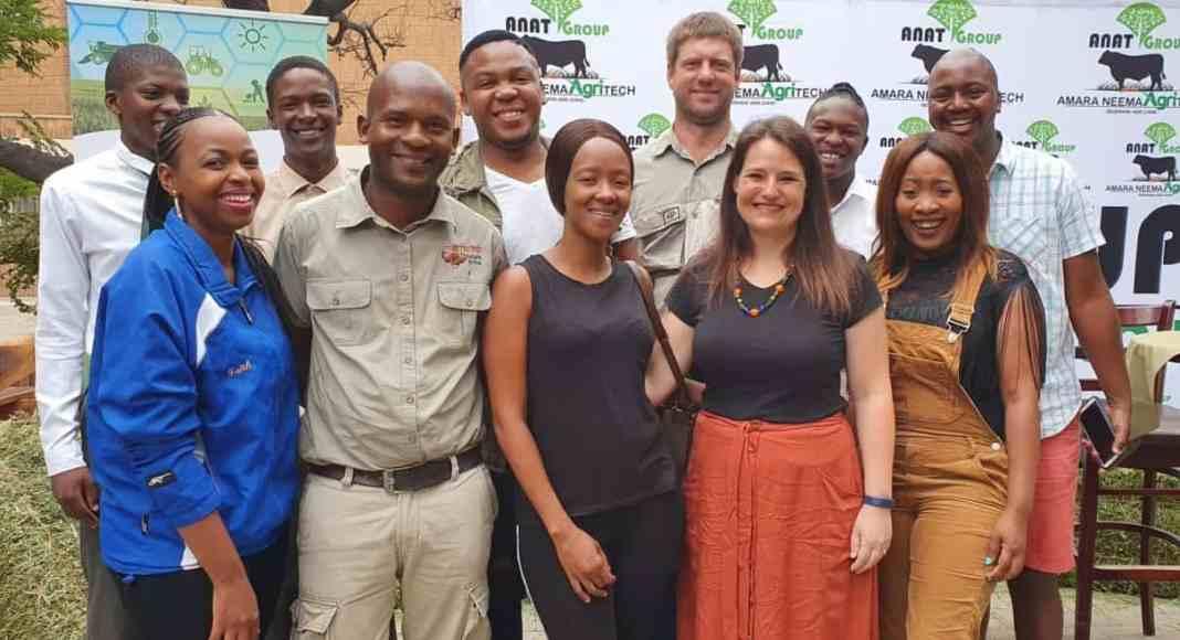 Farmers and the ANAT (Amara Neema Agritech) founders pictured at the youth-led farmers Indaba in Sasolburg in the Free State.(Front Row) Faith Ntleletsi, Moketi Mantoro, Ruth Mokoena, Lienkie Vogel, Seloane Tsimane,, (Back) Thabo Khoadi, Lebohang Mthembu, Simphiwe Kahla, Riaan Els, Lerato Moshanyana and Sabata Segobo.
