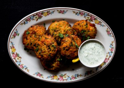 THE FOOD GAYS - Veggie Fritters with Jalapeño Herb Yogurt