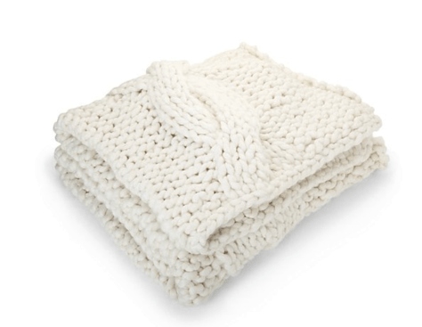 Cozy Knit Ivory Throw - Crate and Barrel