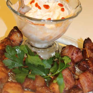 Bacon Wrapped Potatoes with Sriracha Dip