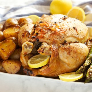 Lemon Garlic Ginger Roasted Chicken