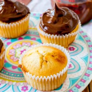 Egg White Cupcakes with Dark Chocolate Ganache Frosting
