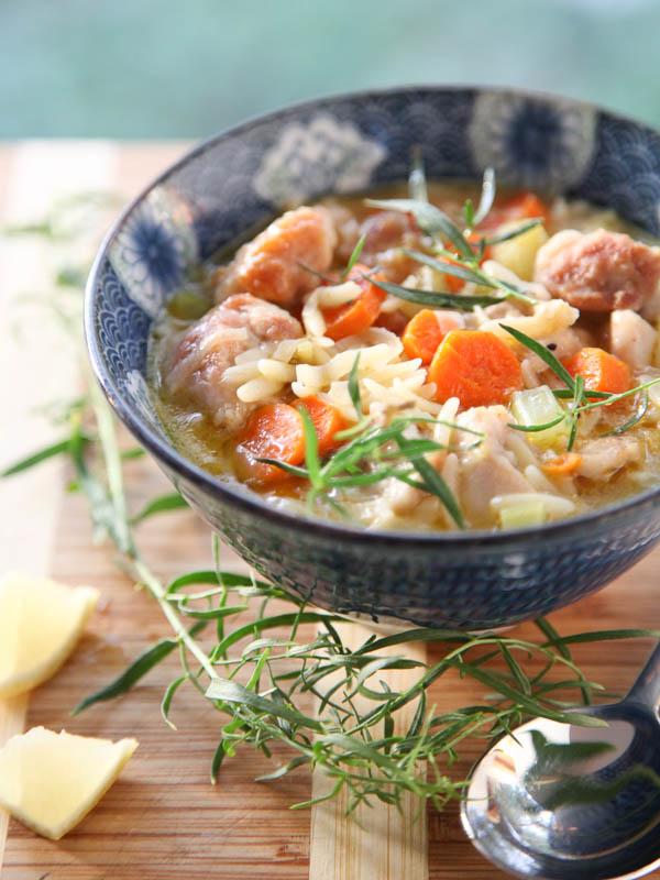 Lemon Chicken Stew garnished with fresh tarragon