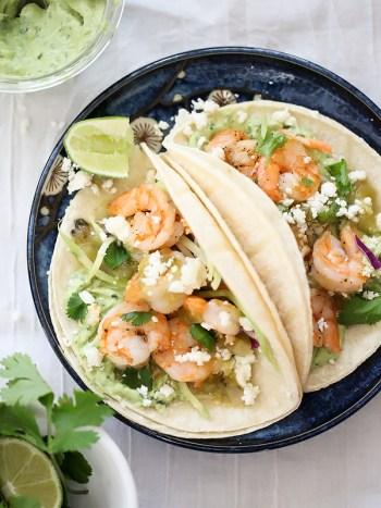 Shrimp Tacos with Garlic Avocado Cream on foodiecrush.com