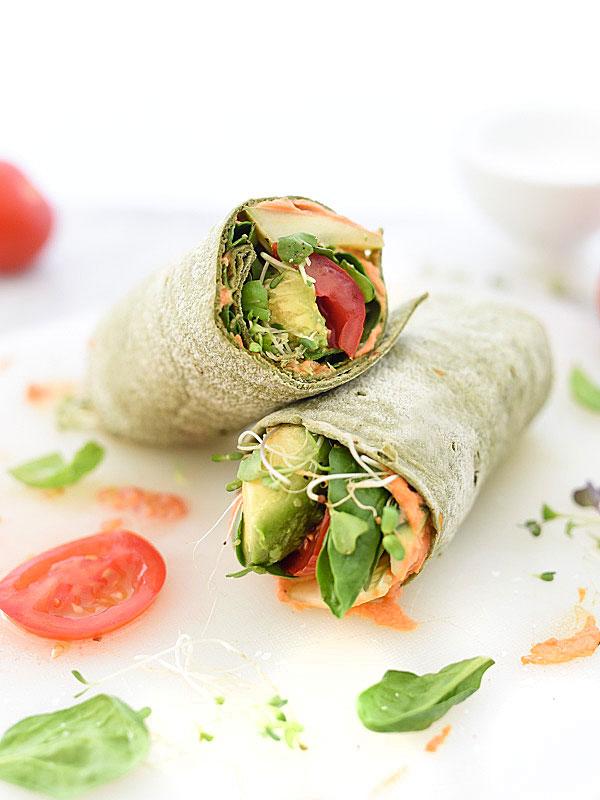 Hummus Veggie Wrap Plus 10 Heavenly Hummus Recipes to Make at Home | foodiecrush.com #vegan #veggie #vegetarian #healthy #recipe #easy