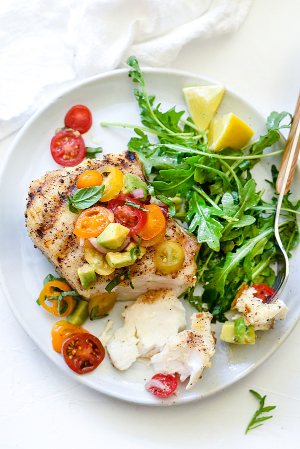 Grilled Halibut with Tomato Avocado Salsa | foodiecrush.com #avocado #healthy #easy