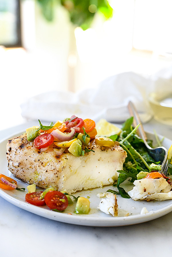 Grilled Halibut with Tomato Avocado Salsa foodiecrush.com