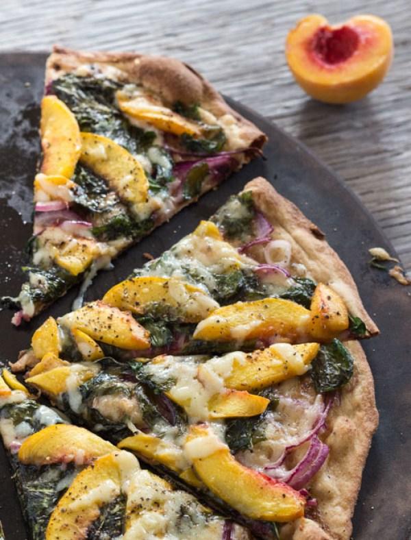 Peach and Arugula Pizza by Letty's Kitchen   foodiecrush.com