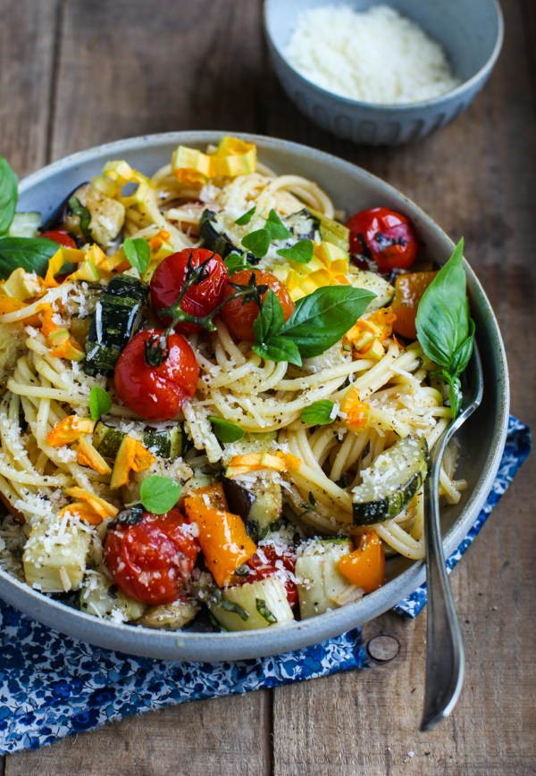 Easy Roasted Vegetable Spaghetti by Simple Bites   foodiecrush.com