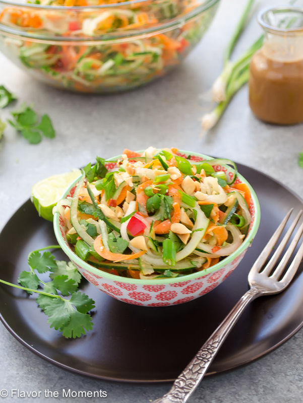 Thai Carrot Cucumber Noodle Salad with Peanut Lime Dressing by Flavor the Moments   foodiecrush.com