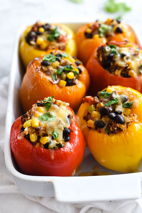 Southwestern Stuffed Peppers | foodiecrush.com #beef #easy #healthy #recipe