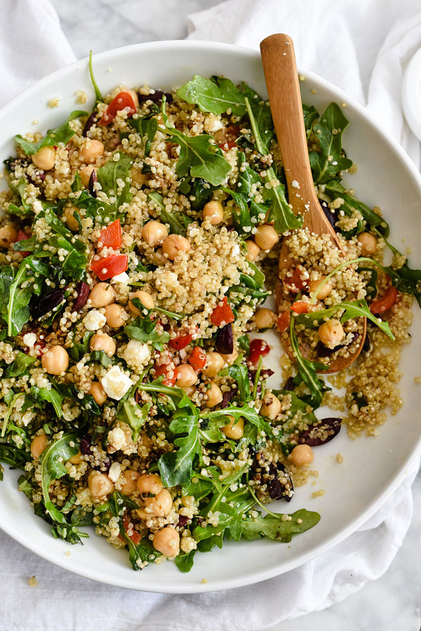 Mediterranean Quinoa Salad | foodiecrush.com #healthy #recipes #dressing #feta