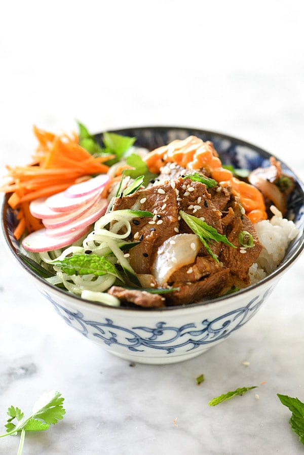 Korean Beef Bulgogi Bowls recipe | #recipe #Korean #easy #bowl foodiecrush.com
