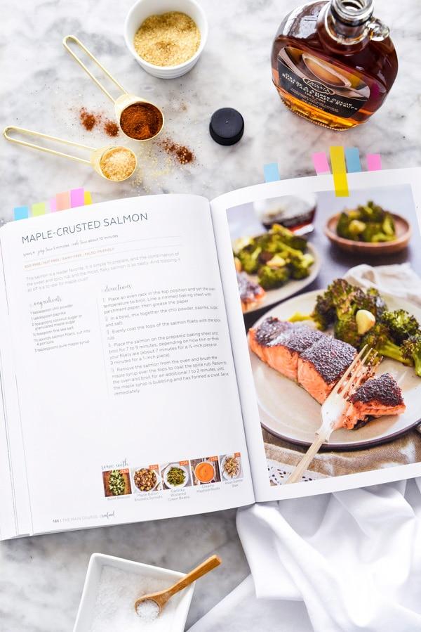 cookbook open to recipe for maple salmon