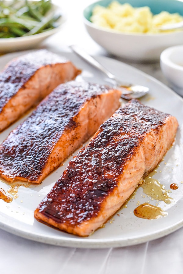 Maple-Crusted Salmon on plate