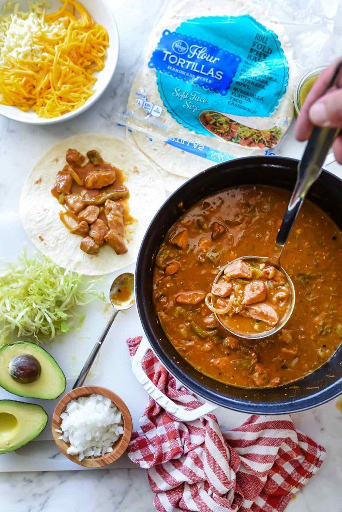 Quick and Easy Homemade Chile Verde Burritos   #chile #verde #pork #quick #easy #recipe #dinner #burritos foodiecrush.com
