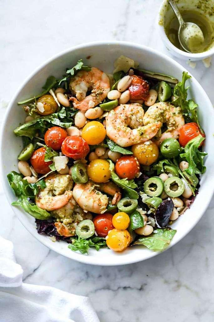 Arugula Salad with Pesto Shrimp, Parmesan and White Beans | foodiecrush.com
