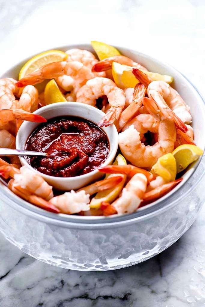 Shrimp Cocktail Recipe   foodiecrush #easy #appetizers #sauce #presentation