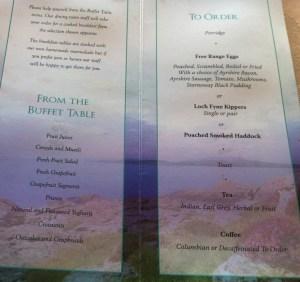 breakfast menu loch melfort