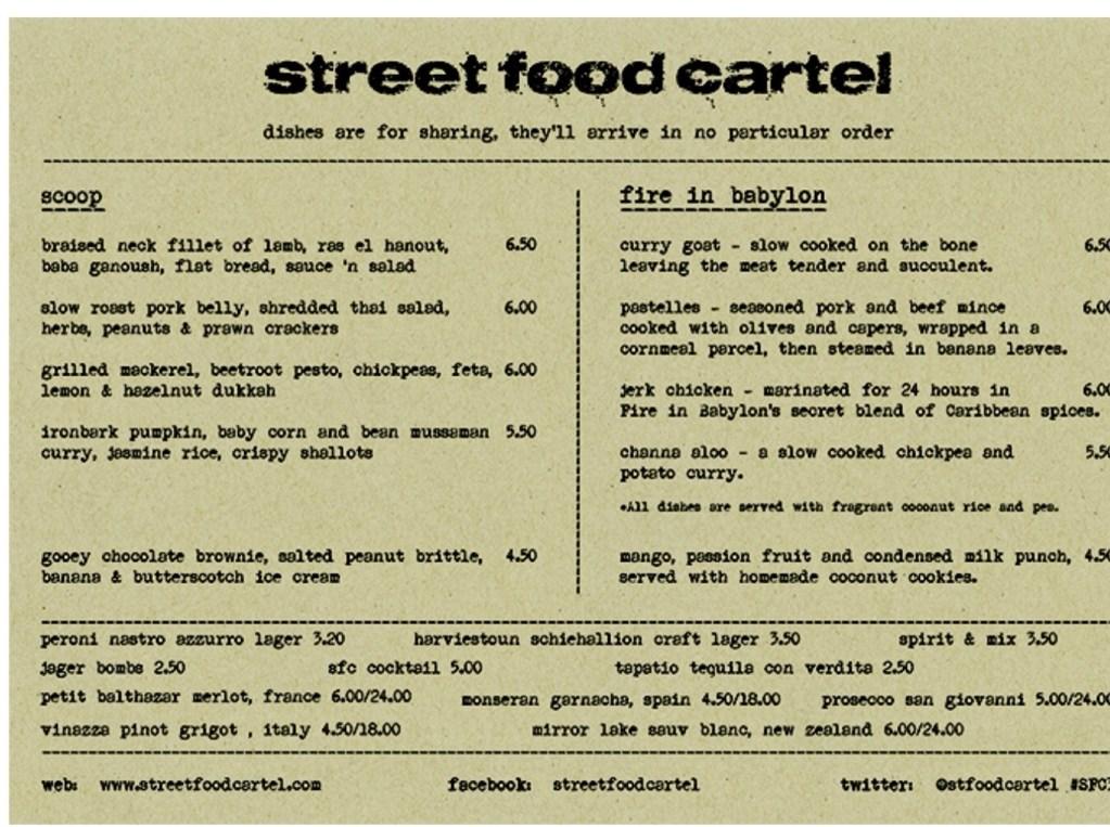 Street food cartel menu released