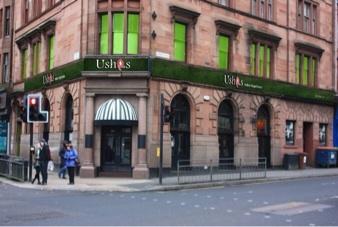Outside usha's restaurant vegetarian Indian food drink Glasgow blog