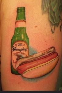 beer  hotdog tattoo