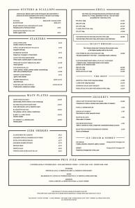 The Honours a la carte menu Martin Wishart Malmaison Glasgow