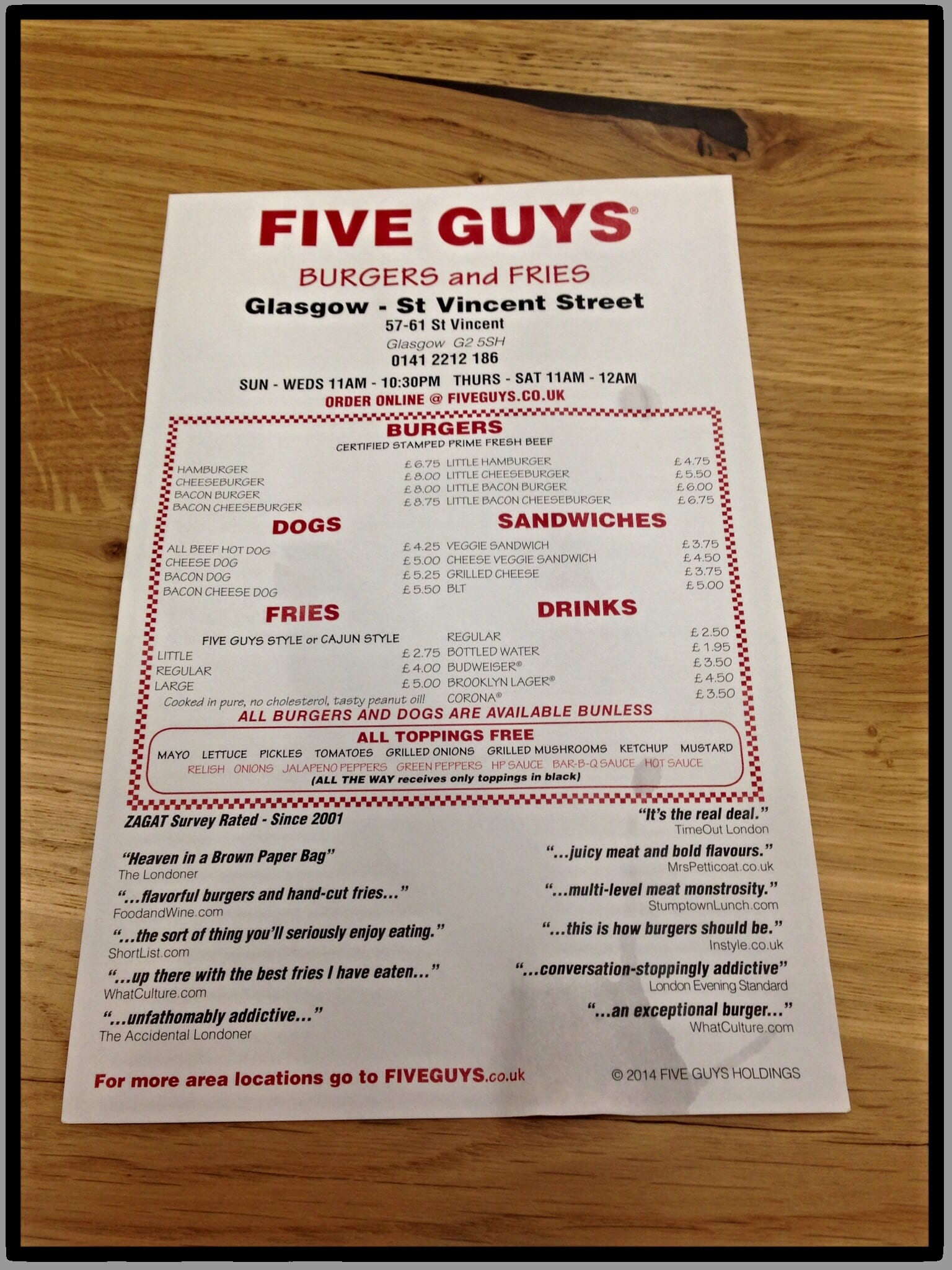 Food Review: Five Guys, 57- 61 St. Vincent Street, Glasgow ...