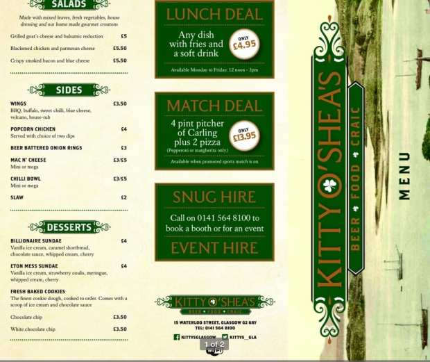 Kitty O'Shea's bar Waterloo street Glasgow menu