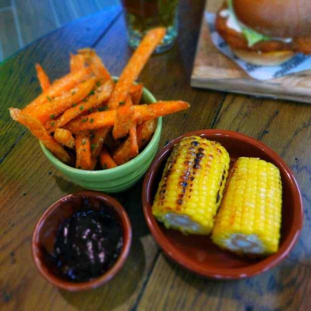 Chimmichanga - sweet potato fries and corn on the cob sides