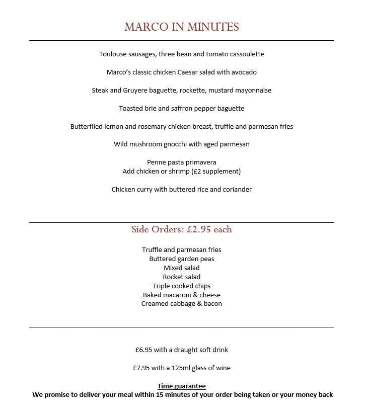 Now marco Pierre White Glasgow express lunch menu