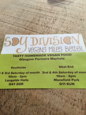 Soy division vegan food Glasgow